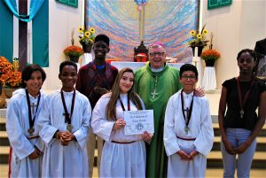 Our Best Altar Servers honored by Bishop Boisonneau.